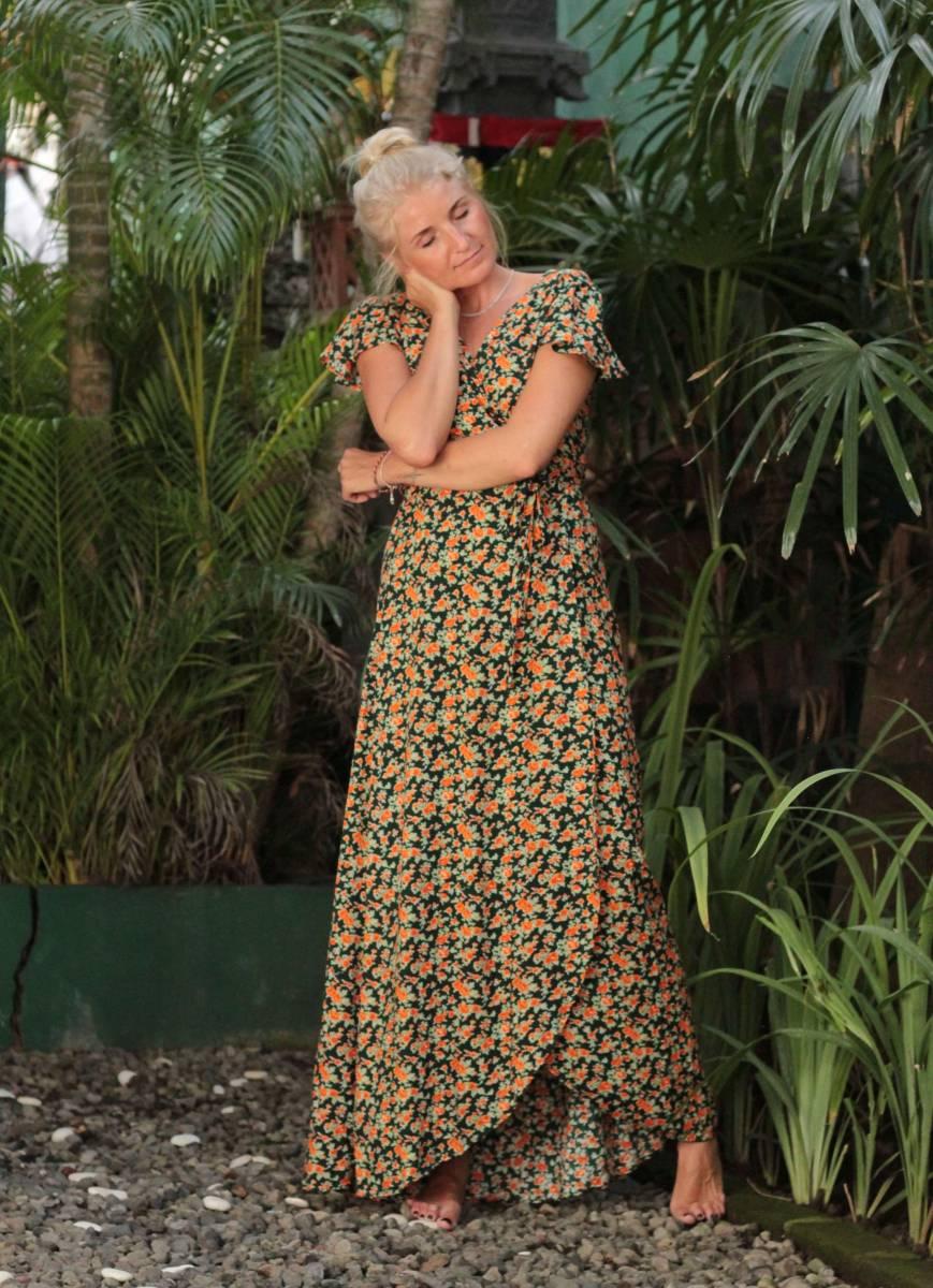 Blumen Wickelkleid Lang Boho Maxikleid zum Wickeln mit Blumen