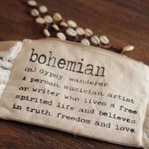Bohemian Kosmetiktasche mit Fransen aus Baumwolle Begriff Bohemian Gypsy