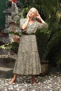 Boho Style Kleid mit Leoparden-Muster Animal Print Dress