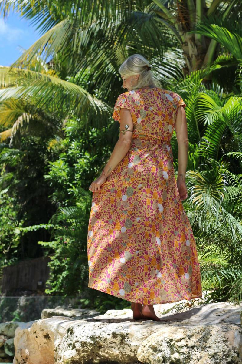 Boho Sommerkleid Ibiza Style Gelb Blumenmuster