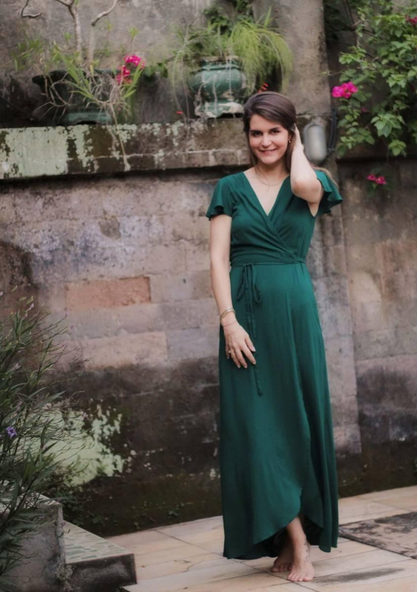 Boho Sommerkleid lang Dunkelgrün Wickelkleid Flaschengrün (1)