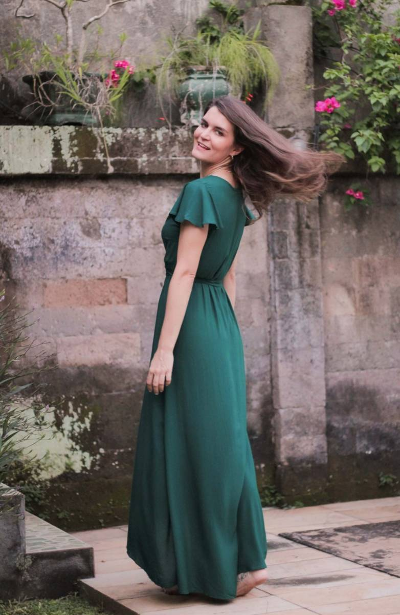 Boho Sommerkleid lang Dunkelgrün Wickelkleid Flaschengrün (7)