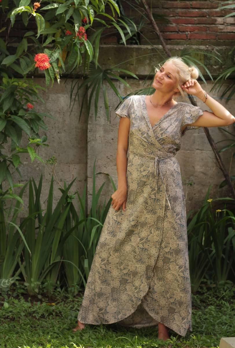 long wrap dress floral pattern light blue-gray in boho chic style