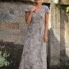 Boho Sommerkleid Wickelkleid Hellblau Grau Damen Sommer Kleider