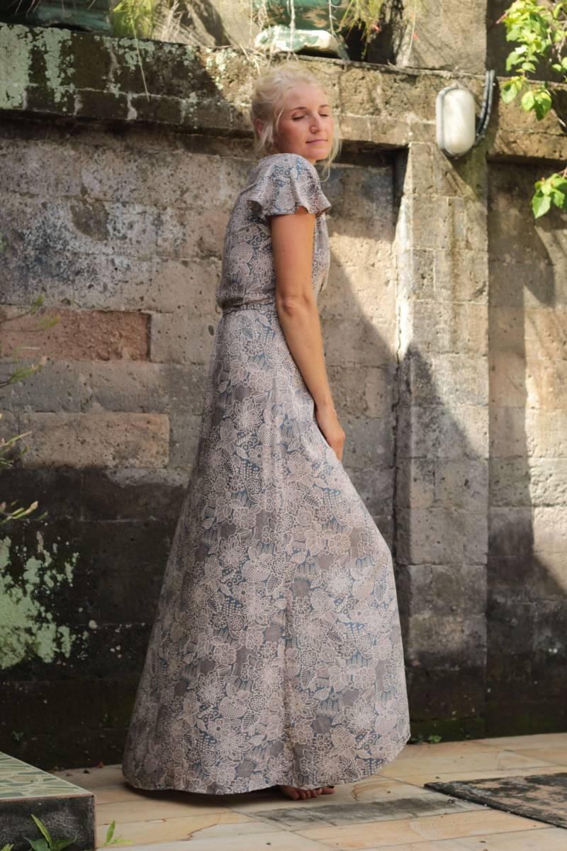 Boho Sommerkleid Wickelkleid Hellblau Grau Kleid Kurzarm