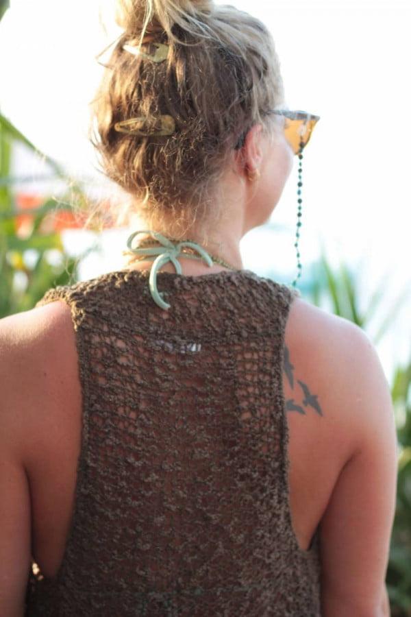 Hippie Strickweste Strick Top Sommerliche Häkel Weste (1)