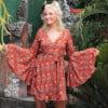 Langarm Kleid zum Wickeln mit Trompetenärmel Terracotta Boho Dreams Kurzes Damenkleid