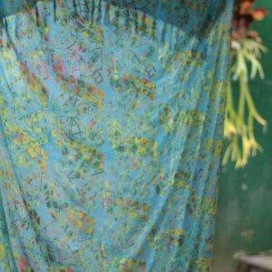 Sarong Blatt Druck Batik Strandtuch Blau