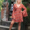 Trompetenärmel Kleid kurz zum Wickeln Terracotta Boho Dreams