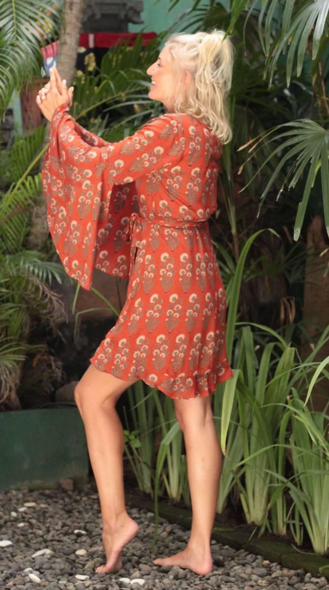 Trompetenärmel Kleid zum Wickeln Terracotta Boho Dreams 70er Jahre Boho Hippie Style