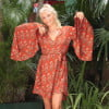 Trompetenärmel Kleid zum Wickeln Terracotta Boho Dreams Minikleid