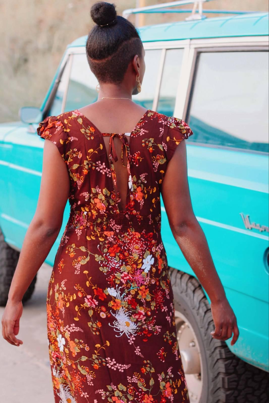 Boho Kleid Rückenfrei braun Ibiza Style