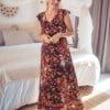 Bohemian maxi dress brown