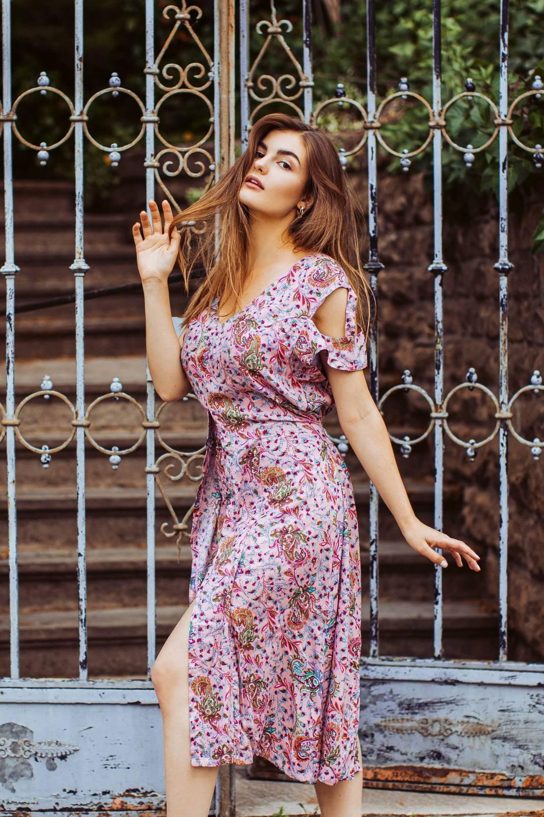 Boho Kleid Altrosé mit Paisley Print Cut Out Kleid Midi Kleid Sommerkleid Boho Sommer Style
