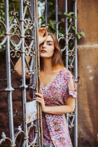 Boho Kleid Altrosé mit Paisley Print Cut Out Kleid Midi Kleid Sommerkleid Faire Kleidung