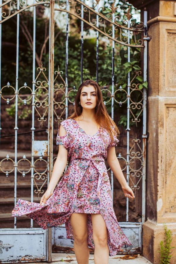 Boho Kleid Altrosé mit Paisley Print Cut Out Kleid Midi Kleid Sommerkleid Ibiza Style