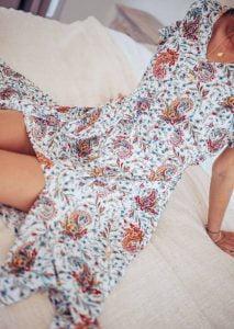 Boho Kleid Cut-Out Midikleid Weiß Boteh Muster