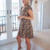 Boho dress short backless with flower mini dress