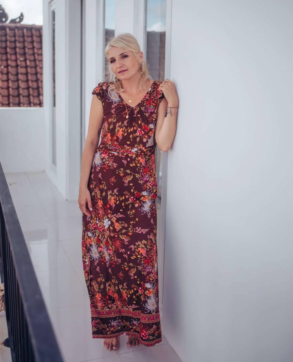 Boho Kleid lang Blumenmuster Braun Sommerkleid Kurzarm