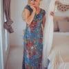 Boho Maxi Dress Blue Floral Pattern Boho Hippie Style
