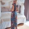 Boho maxi dress blue floral pattern boho dress long