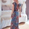 Boho maxi dress blue floral pattern boho summer dress