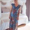 Boho maxi dress blue floral pattern hippie chic