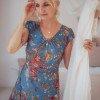 Boho maxi dress blue floral pattern hippie style