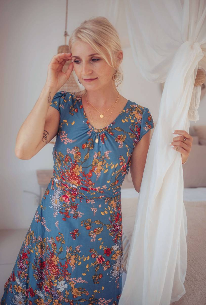 Boho Maxi Kleid Blau Blumenmuster Hippie Style
