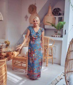 Boho Maxi Kleid Blau Blumenmuster Ibiza Kleid