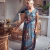 Boho Maxi Dress Blue Flower Pattern Ibiza Style