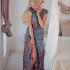 Boho maxi dress blue floral pattern with slit