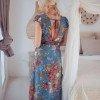 Boho Maxi Kleid Blau Blumenmuster Offenem Rücken
