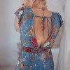 Boho Maxi Kleid Blau Blumenmuster Rückenfrei