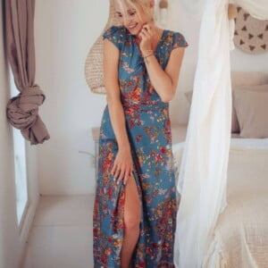 Boho Maxi Dress Blue Floral Pattern Open on the side