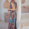 Boho Maxi Kleid Blau Blumenmuster Sommerkleid Kurzarm