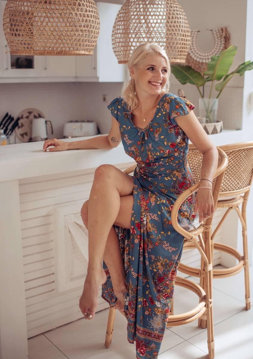 Boho Maxi Kleid Blau Blumenmuster Sommerkleid Lang