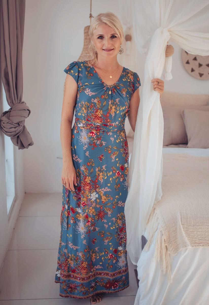 Boho Maxi Kleid Blau Blumenmuster