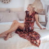Boho maxi dress floral pattern brown Ibiza Gypsy Style