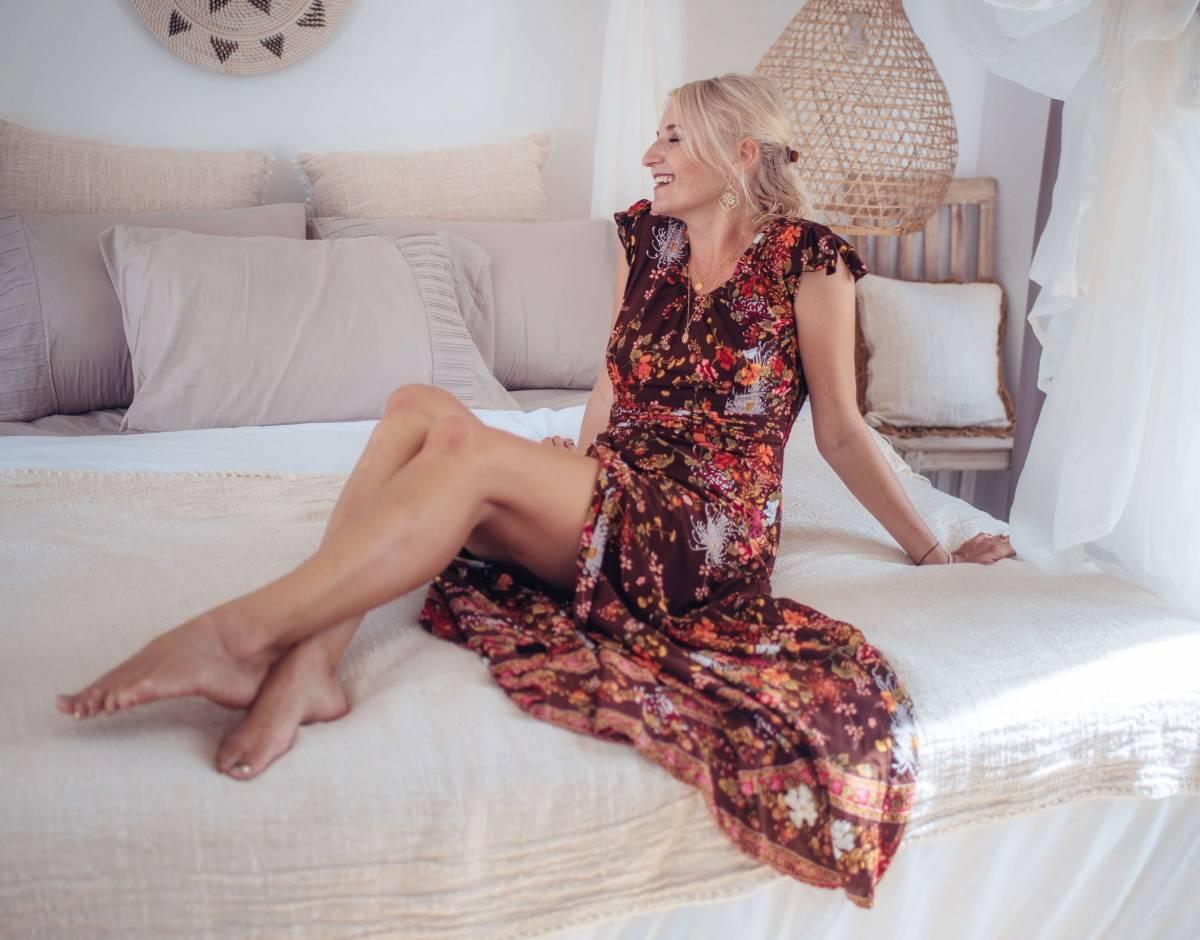 Boho Maxikleid Blumenmuster Braun Ibiza Gypsy Style