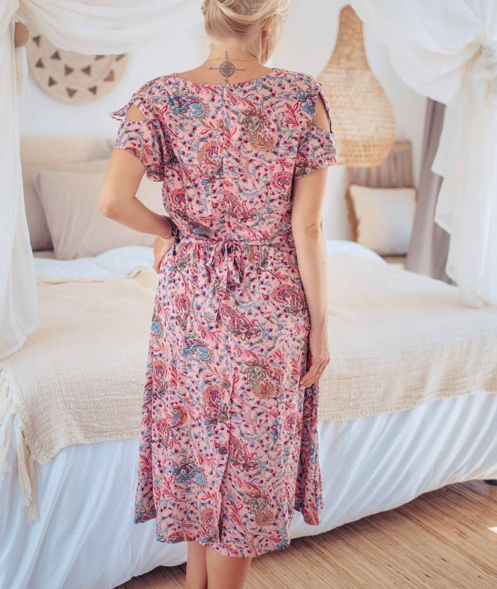 Boho Midi Kleid Altrosè Cut Outs Sommerkleid Ibiza Style