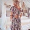 Boho summer dress backless mint green flowers boteh pattern