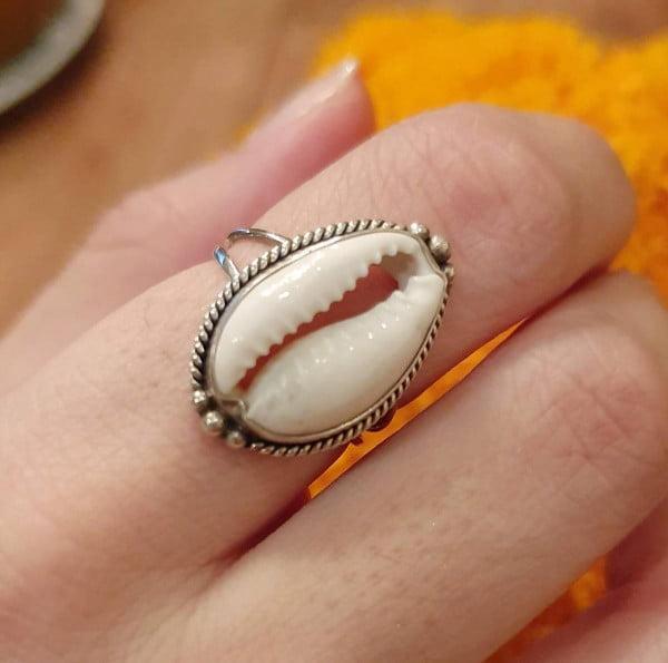 Cowrie Muschel Ring 925 Silber aus Bali Boho Silberring Ibiza Style