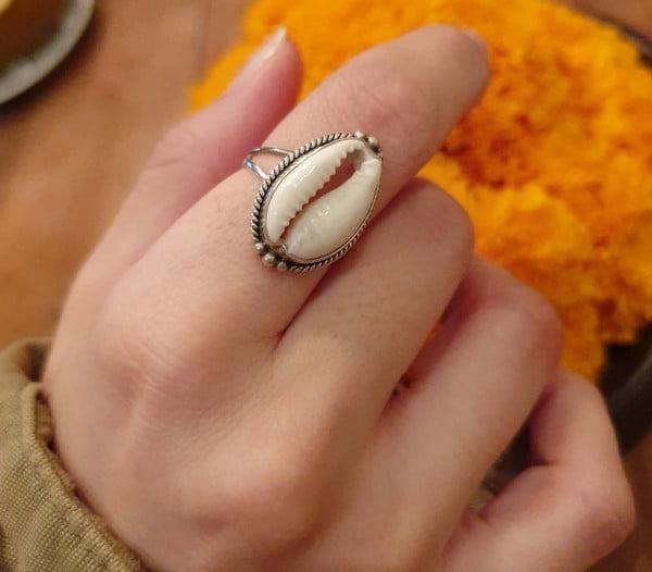 Cowrie Muschel Ring 925 Silber aus Bali Boho Silberring Ibiza Style Strand Schmuck