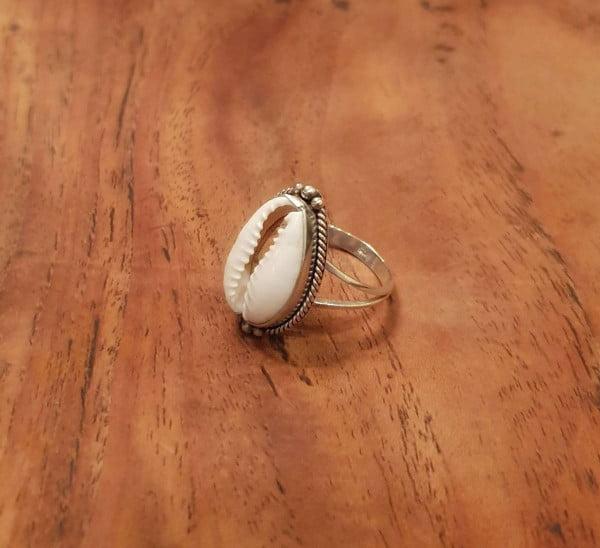Kauri Muschel Ring 925 Silber aus Bali Boho Silber Ring