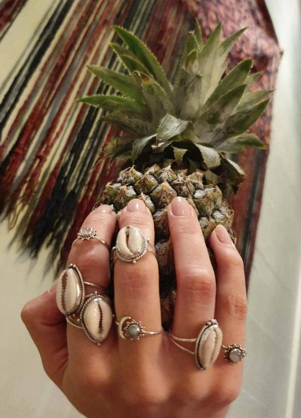 Cowrie Muschel Ring 925 Silber aus Bali Boho Silberring Ibiza Style Strand Schmuck Boho Chic Schmuck