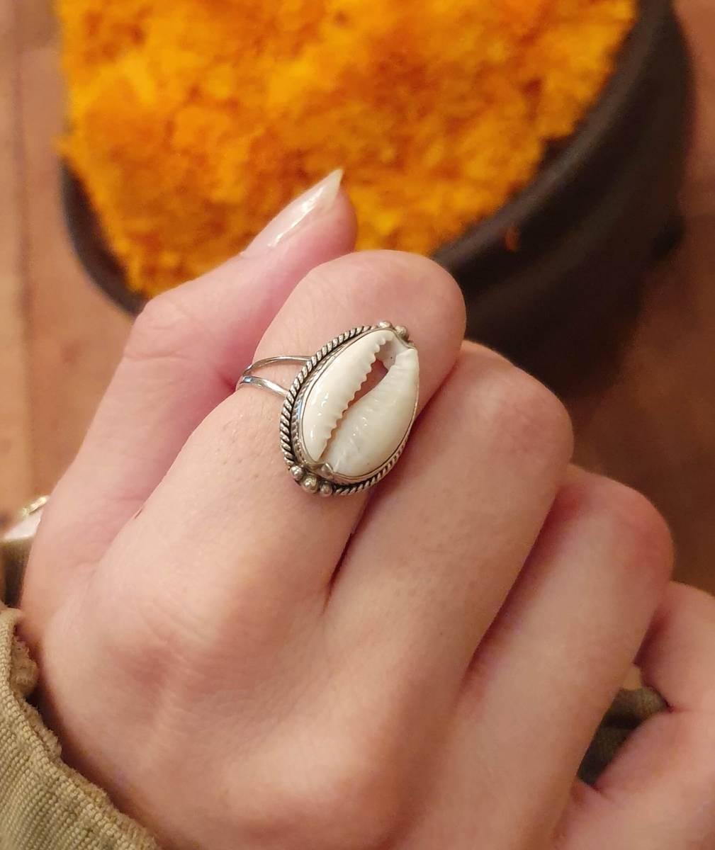 Cowrie Muschel Ring 925 Silber aus Bali Boho Silberring Ibiza Style Strand Schmuck Boho Chic Schmuck Sommer Schmuck