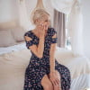 Cut out dress knee length with flowers boho summer dress