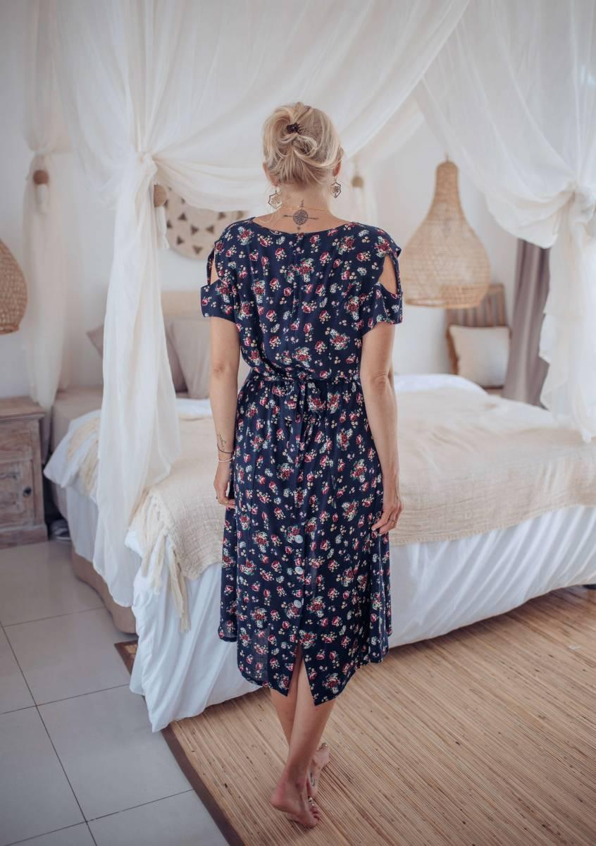 Cut Out Kleid Knielang mit Blumen