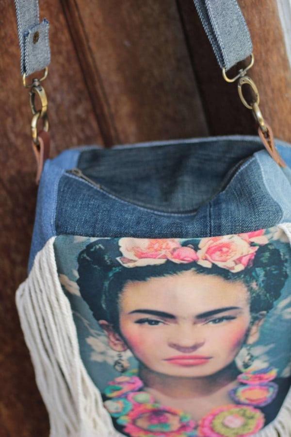 Frida Kahlo Boho Style Tasche Jeans